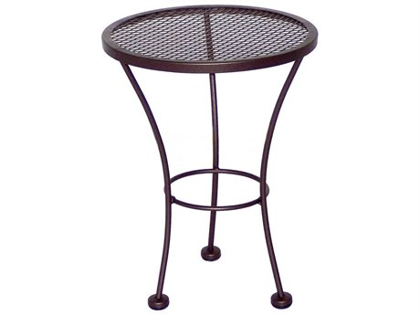 Meadowcraft Jackson 16'' Wide Wrought Iron Round End Table with Umbrella Hole