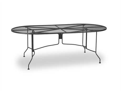 Meadowcraft Wrought Iron 84 x 42 Oval Regular Mesh Dining Table with Umbrella Hole PatioLiving