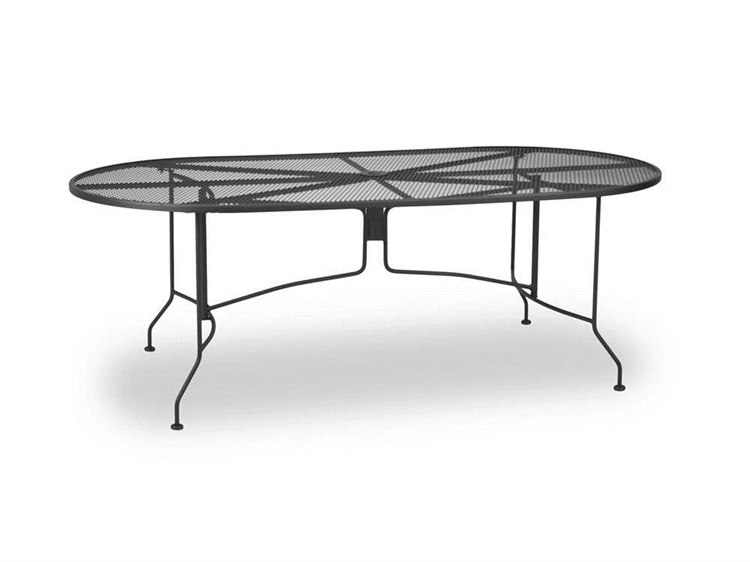 Meadowcraft Mesh Wrought Iron 84''W x 42''D Oval Regular Dining Table with Umbrella Hole PatioLiving