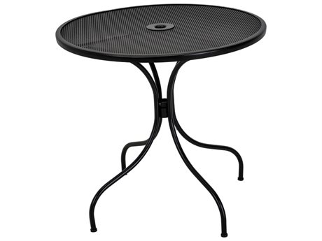 Meadowcraft Jackson 30'' Wide Wrought Iron Round Dining Table with Umbrella Hole