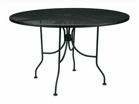 Meadowcraft Mesh Wrought Iron 48''Wide Round Dining Table  with Umbrella Hole