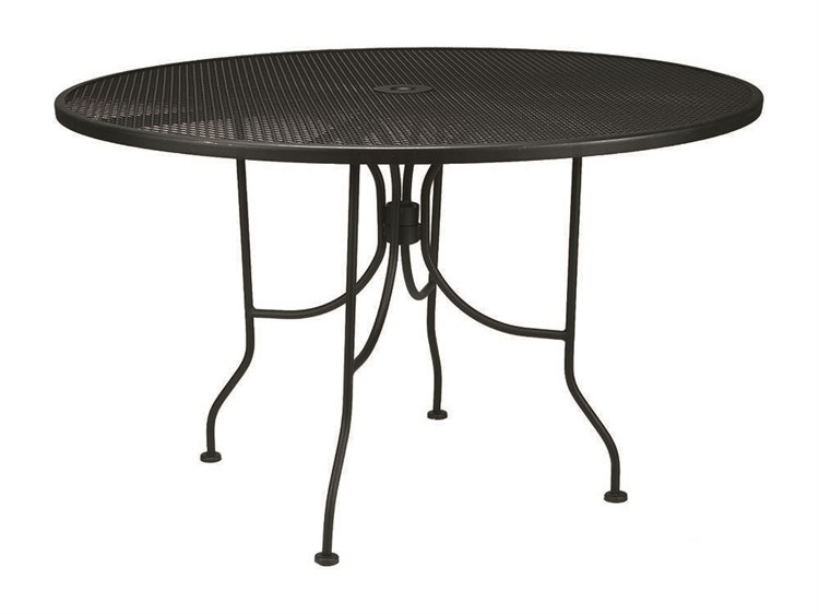 Meadowcraft Mesh Wrought Iron 48''wide Round Dining Table with Umbrella Hole PatioLiving