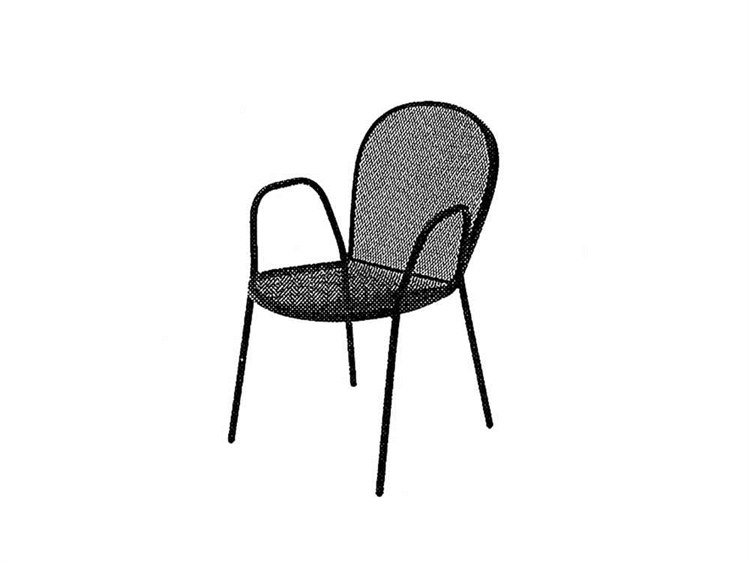 Meadowcraft Commercial Wrought Iron Bimi Dining Arm Chair PatioLiving