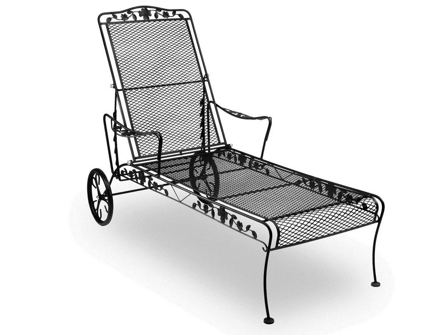 Meadowcraft dogwood wrought iron chaise lounge 7615400 01 for Black wrought iron chaise lounge