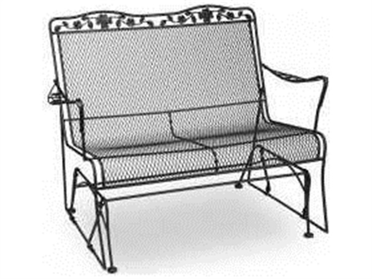 Meadowcraft Dogwood Wrought Iron Glider Loveseat PatioLiving