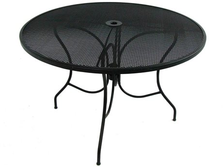Meadowcraft Jackson 44'' Wide Wrought Iron Round Dining Table with Umbrella Hole