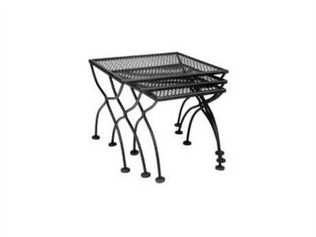 Meadowcraft Wrought Iron Square Nest of Three End Tables