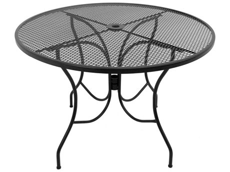 Meadowcraft Glenbrook 42'' Wide Wrought Iron Round Dining Table with Umbrella Hole