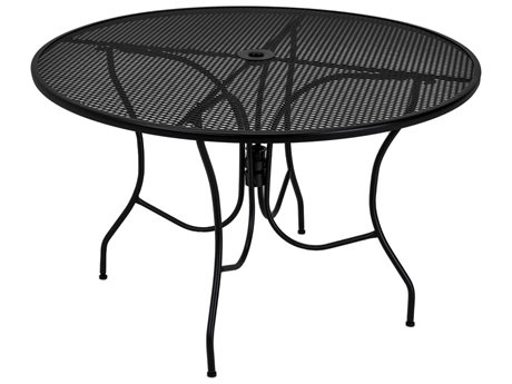 Meadowcraft Glenbrook 48'' Wide Wrought Iron Round Dining Table with Umbrella Hole