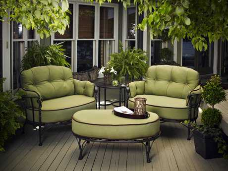 Meadowcraft Athens Deep Seating Wrought Iron Cuddle Lounge Set PatioLiving
