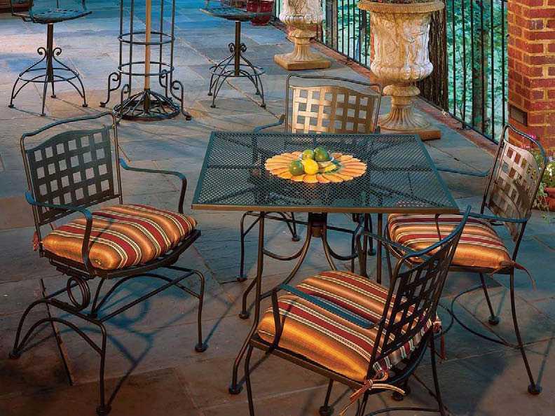 Meadowcraft Vera Cruz Wrought Iron Dining Set Verds