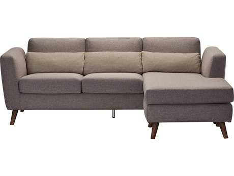 Moe's Home Collection Nano Grey Sectional Sofa with Reversable Grey Chaise