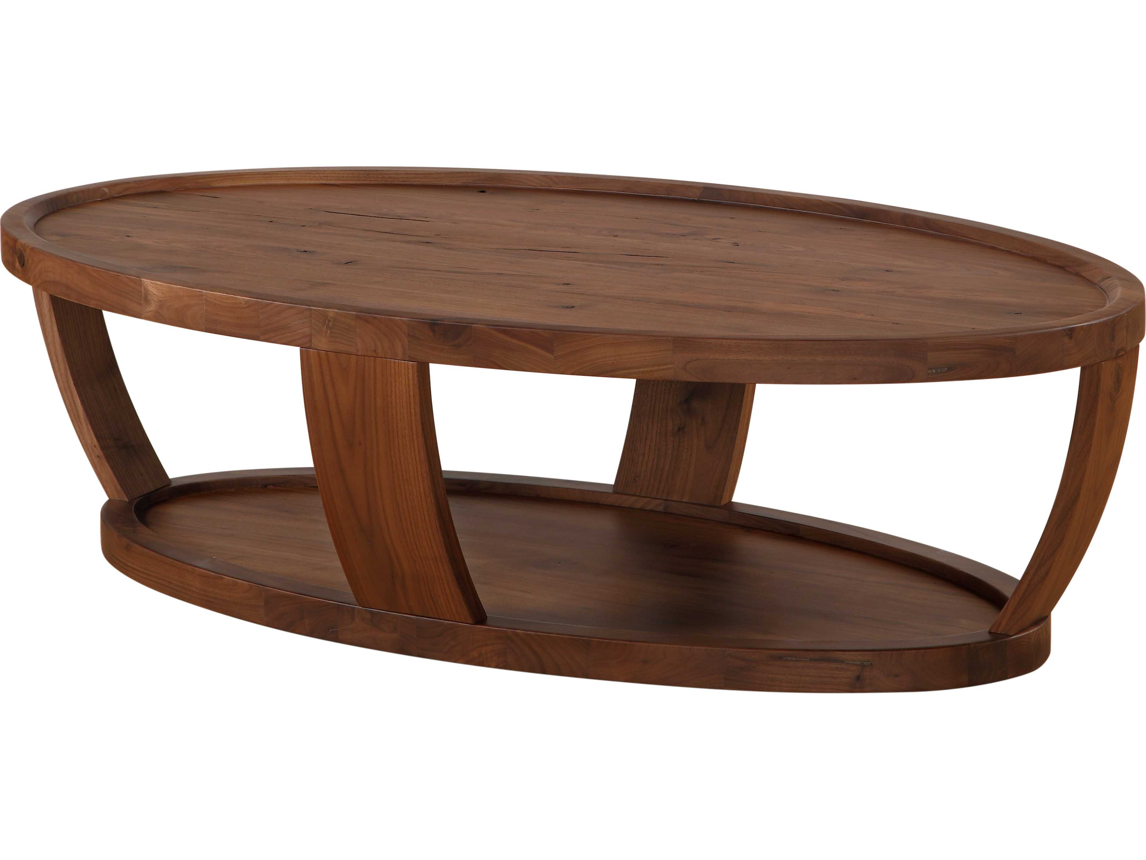Oval Coffee Table Moe S Home Collection Dylan Rustic Walnut 56 X 30