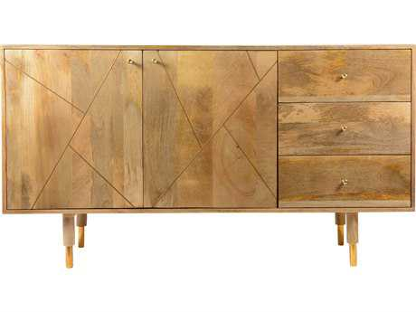 Moe's Home Collection Messinki 58'' x 18'' Solid Mango Wood Three Drawer Sideboard