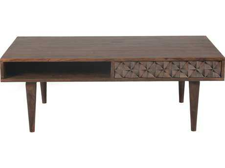 Moe's Home Collection Pablo 44'' x 24'' Rectangular Dark brown Two Drawer Coffee Table