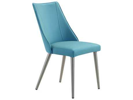 Moe's Home Collection Kaden Leather Blue Dining Chair (Set of 2)