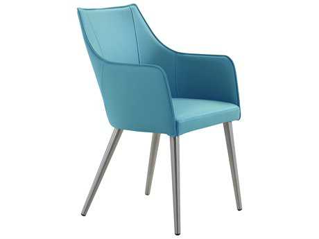 Moe's Home Collection Dixon Blue Leather Dining Chair