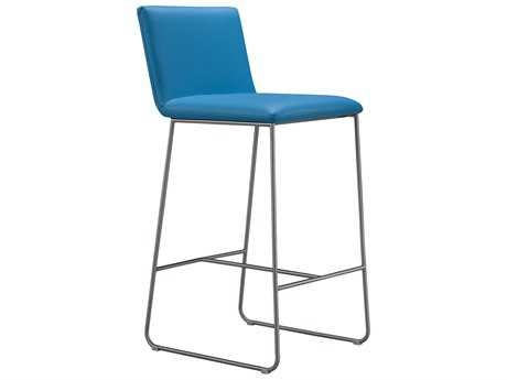 Moe's Home Collection Harley Blue Leather Counter Stool
