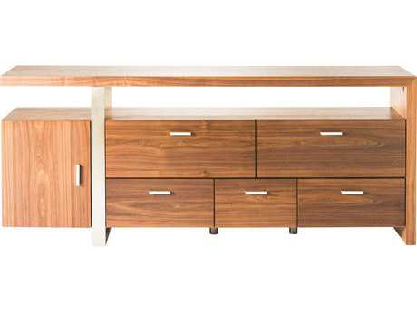 Moe's Home Collection Oslo 71'' x 16'' Walnut with Stainless Steel Sideboard