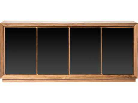 Moe's Home Collection Lagarno 71'' x 18'' Walnut Veneer Sideboard with Black Glass