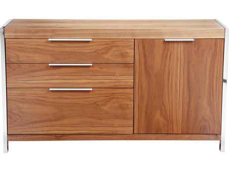 Moe's Home Collection Neo Small Walnut 54'' x 17'' Polished Stainless Steel Sideboard