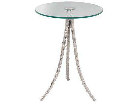 Moe's Home Collection Lyla 19'' Round Clear and Silver Glass Accent Table