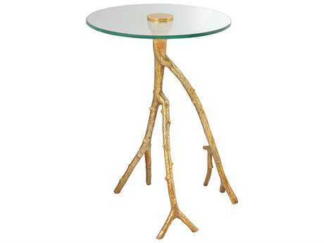 Moe's Home Collection Sprout 16'' Round Clear and Gold Side Table