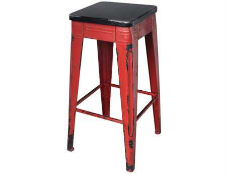 Moe's Home Collection Sturdy Red Bar Stool
