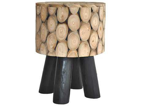 Moe's Home Collection Shasta Natural Accent Stool with Black Legs