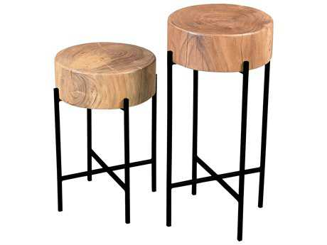 Moe's Home Collection Bruno Set of 2 Round Natural Accent Table