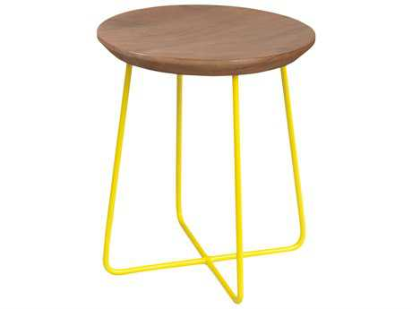 Moe's Home Collection Rainbox Natural Accent Stool with Yellow Legs (Set of 2)