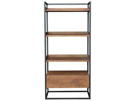 Moe's Home Collection Vancouver 28'' x 13.5'' Acacia Wood with Iron Open Bookshelf