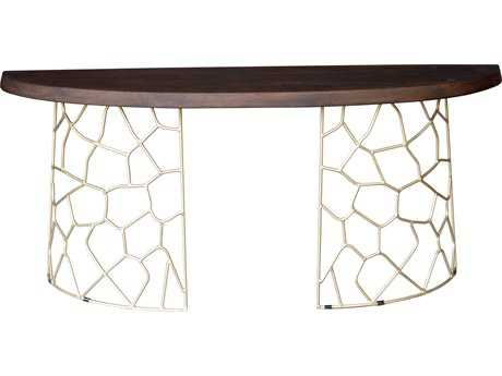 Moe's Home Collection Ario 68'' x 18'' Demilune Dark brown Console Table