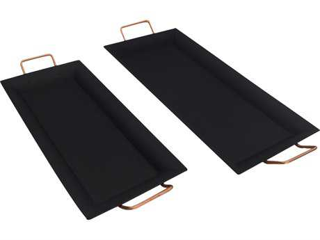 Moe's Home Collection Sergio Black Rectangular Tray (Set of 2)