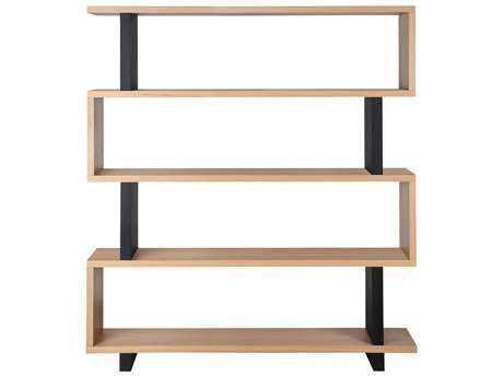 Moe's Home Collection Denecker 59'' x 11'' Large White and Black Oak Veneer Bookshelf