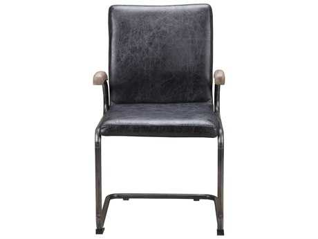 Moe's Home Collection Perth Arm Antique Black Leather Dining Chair (Set of 2)