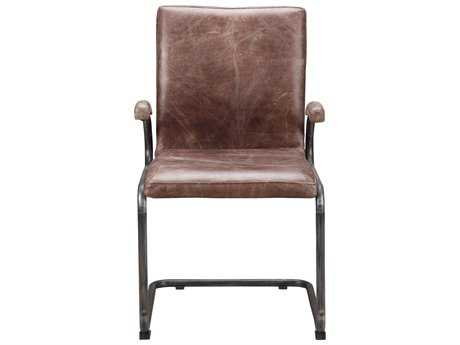Moe's Home Collection Perth Arm Brown Leather Dining Chair (Set of 2)