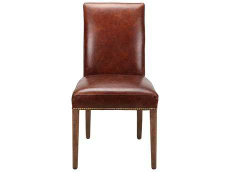 Moe's Home Collection Rex Leather Parson Brown Dining Chair (Set of 2)