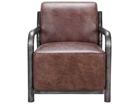 Moe's Home Collection Charlotte Brown Leather Arm Accent Chair