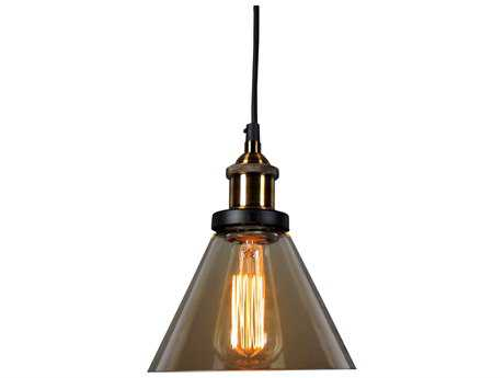 Moe's Home Collection Marta 7'' Wide Bronze Mini-Pendant with Amber Glass