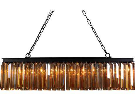 Moe's Home Collection Nina Small Six-Light 38.5'' Wide Bronze Pendant Light with Chinese Crystal