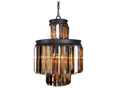 Moe's Home Collection Isabel Six-Light 15'' Wide Bronze Pendant Light with Chinese Amber Crystal