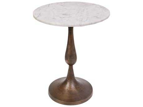 Moe's Home Collection Lydia 18'' Round Gold Side Table with Marble Top