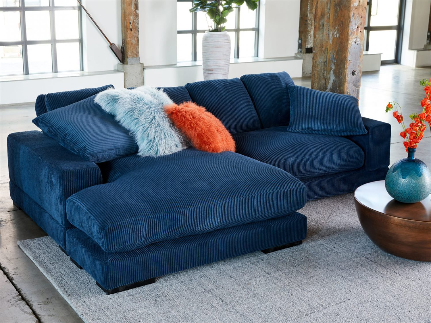 Picture of: Moe S Home Collection Plunge Light Blue Two Piece Sectional Sofa With Left Arm Facing Chaise Metn100446