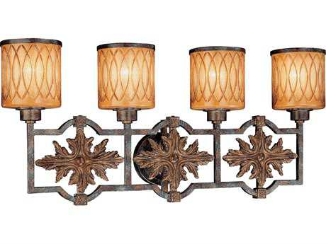 Metropolitan Lighting Terraza Villa Aged Patina with Gold Leaf Accents Four-Lights Vanity Light