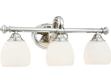 Metropolitan Lighting Polished Nickel Three-Lights Vanity Light