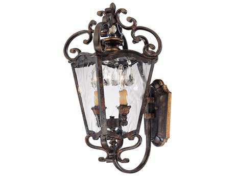 Metropolitan Lighting Aged Patina with Gold Leaf Accents Two-Lights Outdoor Wall Light