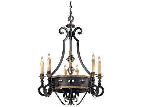Metropolitan Lighting Montparnasse French Black with Gold Leaf Highlight Six-Lights 30'' Wide Chandelier