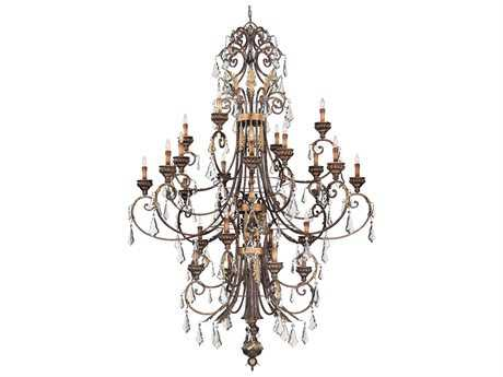 Metropolitan Lighting Windsor Rust with Bronze Accents 24-Lights Grand Chandelier without Crystal