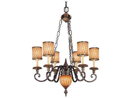 Metropolitan Lighting Terraza Villa Aged Patina with Gold Leaf Accents Six-Lights 33.5'' Wide Chandelier